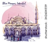sultan ahmed mosque courtyard... | Shutterstock .eps vector #342604559