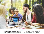 diverse people studying... | Shutterstock . vector #342604700