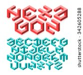hexagon isometric typeface made ... | Shutterstock .eps vector #342605288
