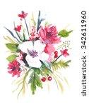 watercolor flowers bouquet...   Shutterstock . vector #342611960