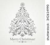 christmas card. christmas tree. ... | Shutterstock .eps vector #342614990