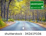 uncertainty road sign against... | Shutterstock . vector #342619106