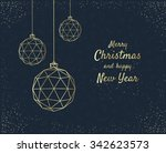 merry christmas greeting card... | Shutterstock .eps vector #342623573