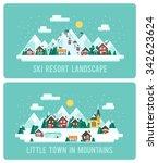 snowy landscape ski resort.... | Shutterstock .eps vector #342623624