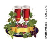 two glasses with colorful grape | Shutterstock .eps vector #34262371