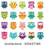 cute cartoon vector owls... | Shutterstock .eps vector #342637184