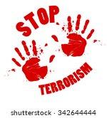 bloody hands stop terrorism... | Shutterstock .eps vector #342644444