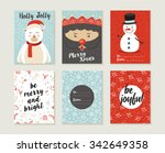 merry christmas greeting card... | Shutterstock .eps vector #342649358