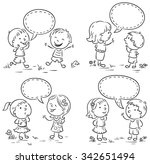 kids talking and showing... | Shutterstock .eps vector #342651494