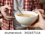 homeless man being handed bowl... | Shutterstock . vector #342657116