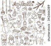 christmas season doodle set... | Shutterstock .eps vector #342666389
