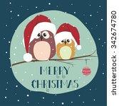two cute birds in santa clothes ...   Shutterstock .eps vector #342674780