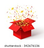 open red gift box and confetti. ... | Shutterstock .eps vector #342676136