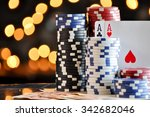 christmas setting with poker... | Shutterstock . vector #342682046