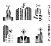 antennas on buildings in the... | Shutterstock .eps vector #342684428