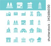 buildings  houses  icons  signs ... | Shutterstock .eps vector #342686030