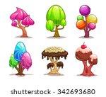 cartoon sweet candy trees ...
