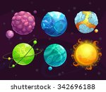 cartoon fantasy alien planets... | Shutterstock .eps vector #342696188