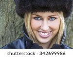 winter portrait of naturally... | Shutterstock . vector #342699986