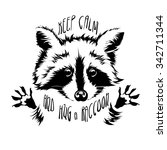 funny and touching raccoon... | Shutterstock .eps vector #342711344