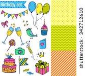 set of cute birthday design... | Shutterstock .eps vector #342712610