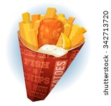 fish and chips cornet ... | Shutterstock .eps vector #342713720