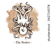 the kraken. legendary sea... | Shutterstock .eps vector #342714578