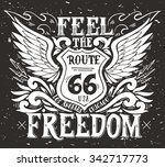 feel the freedom. route 66.... | Shutterstock .eps vector #342717773