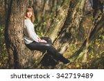 beautiful girl in a park near a ... | Shutterstock . vector #342719489