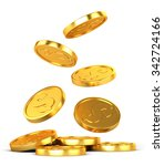 falling gold coins on a white... | Shutterstock . vector #342724166