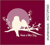 sunset birds silhouette  girly... | Shutterstock .eps vector #342729560