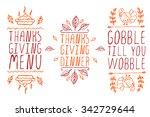 thanksgiving elements. hand... | Shutterstock .eps vector #342729644