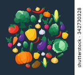 vegetables flat style icons set ...   Shutterstock . vector #342730328