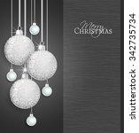 vector christmas balls on a... | Shutterstock .eps vector #342735734