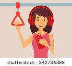 happy girl passenger listening... | Shutterstock .eps vector #342736388