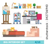 big detailed interior set. cozy ... | Shutterstock .eps vector #342736940