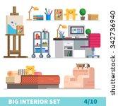 big detailed interior set. cozy ... | Shutterstock .eps vector #342736940