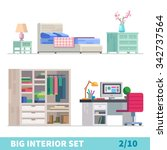 big detailed interior set.... | Shutterstock .eps vector #342737564