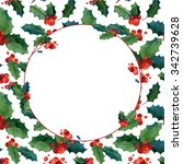 watercolor christmas greeting... | Shutterstock . vector #342739628