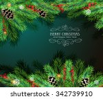 christmas tree branches with... | Shutterstock .eps vector #342739910