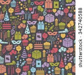 seamless pattern with party... | Shutterstock .eps vector #342740588