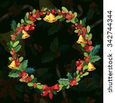 watercolor christmas greeting... | Shutterstock . vector #342744344