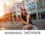 fashion portrait of beautiful... | Shutterstock . vector #342745628