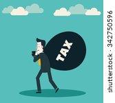 sad businessman carrying a bag... | Shutterstock .eps vector #342750596