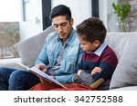 happy father reading book with... | Shutterstock . vector #342752588