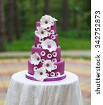 grand violet wedding cake with... | Shutterstock . vector #342752873