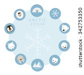 arctic animals  people  icons... | Shutterstock .eps vector #342753350