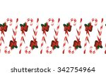 candy cane christmas seamless... | Shutterstock . vector #342754964
