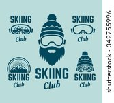 skiing club set of colored... | Shutterstock .eps vector #342755996
