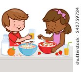 two children  a girl and a boy... | Shutterstock .eps vector #342759734